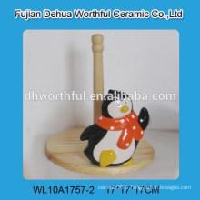 Porte-tissu en céramique mignon avec forme de pingouin