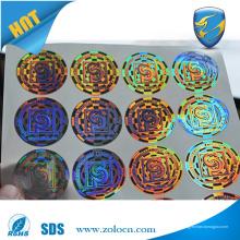 Etiquetas auto-personalizadas auto-adesivas de holograma, etiqueta holográfica de segurança impressa com logotipo
