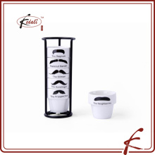 mustache decal pattern ceramic egg cup six pcs with iron holder