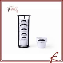 Moustache decalque padrão ovo copo de cerâmica seis pcs com suporte de ferro