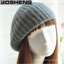 Chapeau de béret Bonnet en tricot gris hiver d'hiver