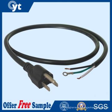 Черный США штекер 3-Контактный, ПВХ Кабель питания переменного тока