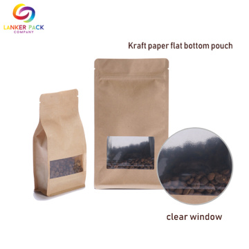 Ditutup kembali Zip Lock Kraft Paper Bag With Window