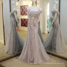 LS56557 Cinza imagem real cinza de ombro design de espartilho de sereia mais tamanho sexy vestidos de baile