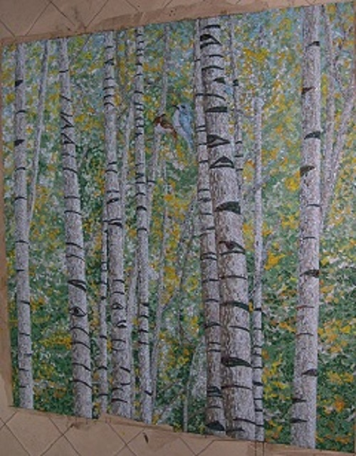 Forest glass mosaic wall mural picture