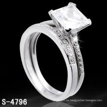 Anillo de joyería de plata con anillo de diamantes (S-4796. JPG)