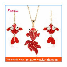 African jewelry sets red doll big pendant necklace and earrings sets