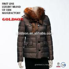 2016 горячая распродажа женщины зима куртка Короткая темно-гусиный пух с реальными Лисий мех воротника