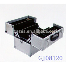 Серебряный сильный алюминиевый ящик для инструментов с 4 пластиковых лотков и регулируемой отсеки на дне корпуса