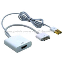 Digital AV HDMI® Adapter to HDTV for New iPad 2, 3, iPhone 4S/4G/iPod Touch with USB Charging