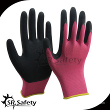 SRSAFETY 13G pink nylon palm coated pink liner black foam latex glove
