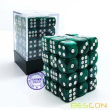 Bescon 12 mm 6 caras Dice 36 en Brick Box, 12 mm Six Sided Die (36) Bloque de dados, Marble Green
