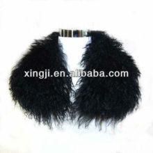 Top quality lamb fur dyed black color Tibet lamb collar