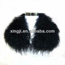 Pele de cordeiro de qualidade superior tingido de cor preta colarinho de cordeiro do Tibete