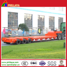 3 Axles 50-60tons Tire Leakage Truck Lowboy Lowbed Semi Trailer