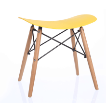 stable plastic stool with wood leg