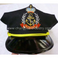 Leather black custom carvinal captain cap hat