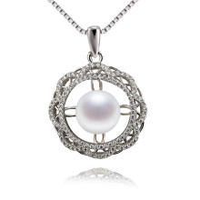 Snh Nice Flower 9mm Within Chain Simple White Pearl Pendant Jewelry