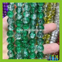 8mm de cristal redondo verde dibujo craccle bead aterrizaje para la joyería