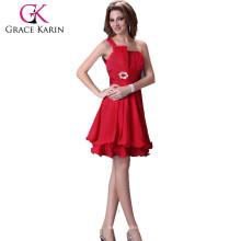 ¡Venta caliente! Grace Karin Mujeres un hombro longitud de la rodilla Satén vestido de dama de honor PRODUCTS_URL_PREFIX