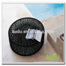 High End Dining Table,Black Rattan Round Handmade Weave Dining Table