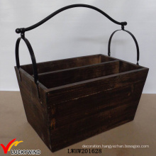Farmhouse Decor Trug Handmade Wooden Storage Divided Basket