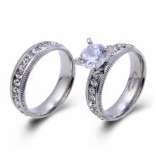 Mode Couple Promise Anneau Acier Inoxydable Couleur Prong Réglage CZ Anneau De Mariage