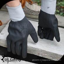 15-дюймовые трикотажные нейлоновые и спандек-покрытые черные высокотехнологичные пенные нитриловые перчатки