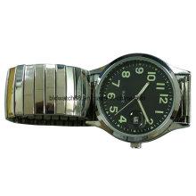 Reloj de aleación de oro analógico de moda con banda elástica para hombre