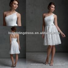 HB2021 Moda estilo branco um ombro dois staps costas laço appliqued fita frontal zipper ombro oblíquo vestido de dama de honra