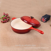 new customized cast iron enamel long handle deep saucepan