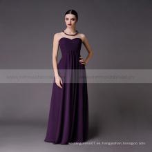 Long sweetheart patrones de uva gasa vestido de dama de honor