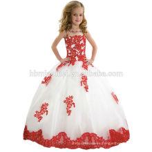 Vestido largo atado de encargo de la florista de la reina del color blanco del vestido de boda 2016 del pequeño para la boda
