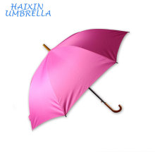 Walking Fashional Classic Pink Pongee Customized 8k Economy Traditional Wooden J handle Straight Rod Umbrella Print Logo Favours