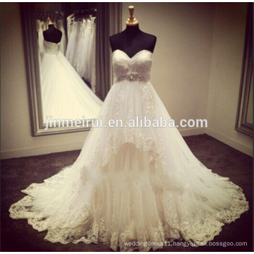 2014 High-end Quality High Waist Puffy Lace Wedding Dress