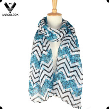 Fashionable Polyester Printing Flower Chevron Scarf