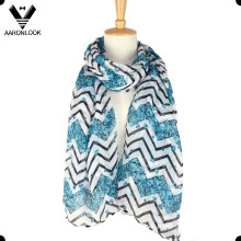 Bufanda de moda de Chevron de la flor de la impresión del poliester
