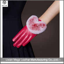 Ladies driving hand made red color leather gloves with rabbit fur lined