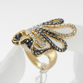Trendy Gold Ring for Women with Simulated Diamond Woman's Love Gift Crystal metal Ring for LOVE
