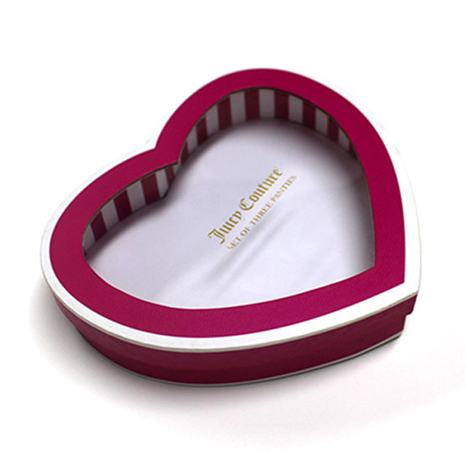 Paper Heart Shape Gift With Clear Window Box