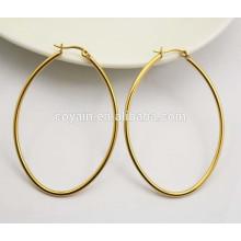 Boucles d'oreilles ovales classiques en acier inoxydable 18K en or pour femmes