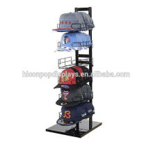Sports Products Retail Store Wire Cap Stand Display Tower 6-Layer Black Metal Countertop Hat Display