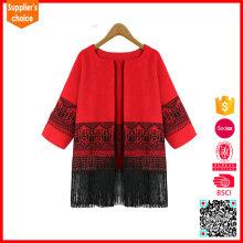 El último jacquard rojo de la rebeca del suéter de las mujeres hizo punto la rebeca de las mujeres con el purl