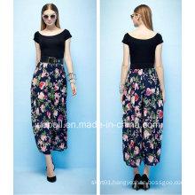Lasted Design High Waist Chiffon Printing Pants