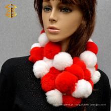Ladies Fur Ball Rex Coelho Lenço de pele Real Rex Rabbit Fur Scarf Shawl