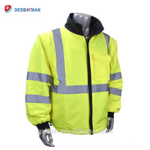 Reversible High Visibility Reflective Road Safety Jacket With Removable Zippered Sleeves Converts Class 3 Jacket to Class 2 Vest