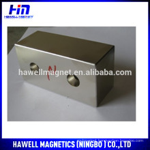 N35 Rare Earth Block magnet with two countersunk holes