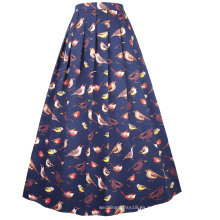 Belle Poque cintura elástica Vintage retro una línea de swing de algodón falda larga BP000324-4