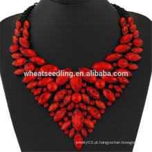 Contas de rubi magnífico design pingente de colar de diamantes