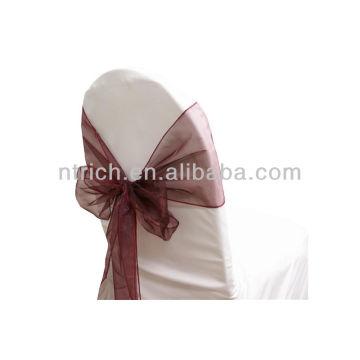 guinda, vogue cristal organza silla marco lazo detrás, corbata de lazo, nudo, cubierta wedding de la silla y mantel